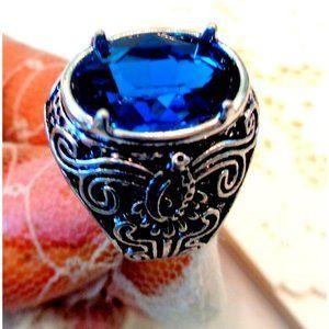 HANDMADE BLUE SAPPAIRE GEMSTONES LADYS/MEN RING 7